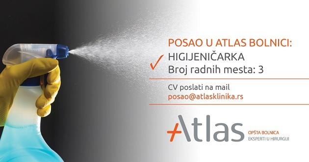 Oglas za posao Higijeničarka - Atlas bolnica